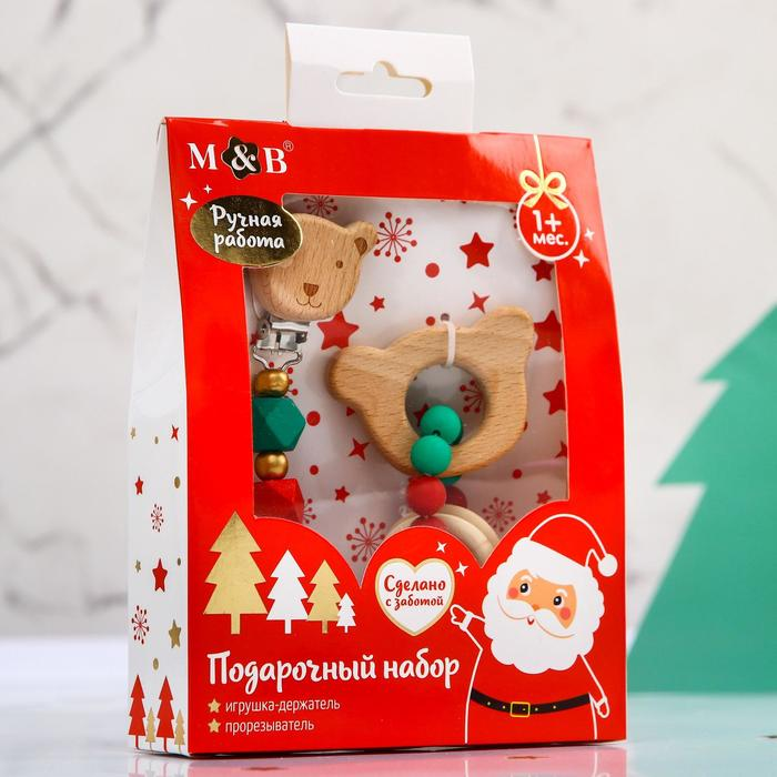 """Подарочный набор """"Дед мороз"""", 2 предмета: держатель для соски-пустышки и грызунок-прорезыватель"""