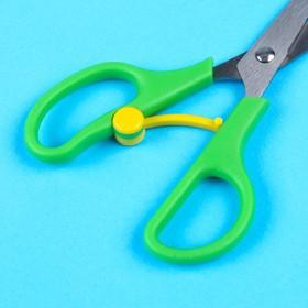 Ножницы детские 13 см, безопасные, пластиковые ручки с авто. механизмом-фикс.  цвет МИКС
