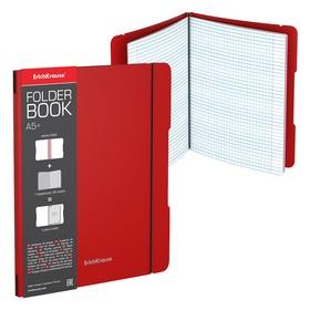 Тетрадь А5+, 48 листов в клетку, съёмная пластиковая обложка, Erich Krause FolderBook, красная