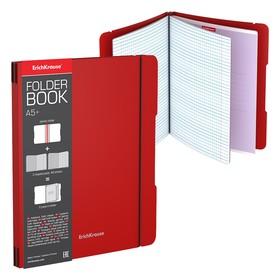 Тетрадь А5+, 96 листов, в клетку, съёмная пластиковая обложка, Erich Krause FolderBook, красная