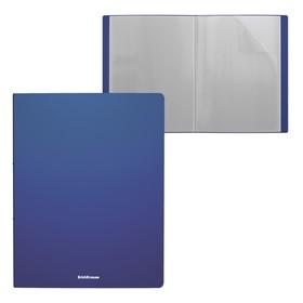 Папка А4, 10 прозрачных вкладышей, Erich Krause Classic, пластиковая, синяя