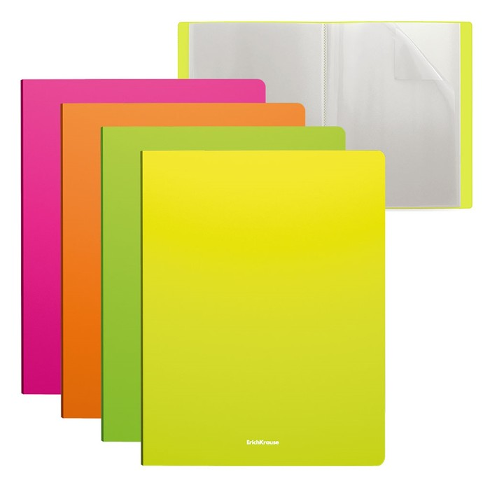 Папка с 10 прозрачными вкладышами, А4, пластик, Erich Krause Neon, ассорти