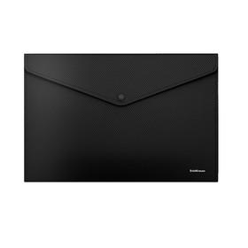 Папка-конверт на кнопке, пластиковая, ErichKrause Classic Diagonal Black Line, непрозрачная, A4