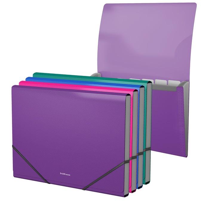 Папка-картотека на резинке, 6 отделов, Erich Krause Glance Vivid, A4, ассорти