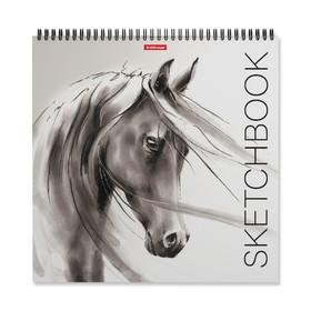Альбом для эскизов 29 x 29 см, 40 листов на гребне Erich Krause Wild Horse, жёсткая подложка, блок 120 г/м2