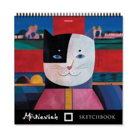 Альбом для эскизов 29 x 29 см, 40 листов на гребне Erich Krause «Мяулевич», жёсткая подложка, блок 120 г/м2
