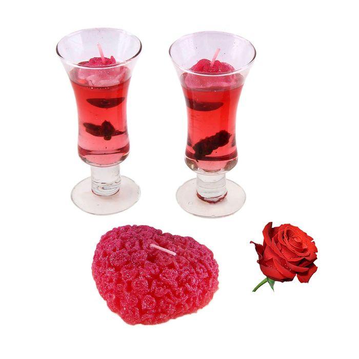 """Набор свечей (2 гелевых + 1 восковая) """"Легкость чувств"""", цвет красный, аромат роза"""