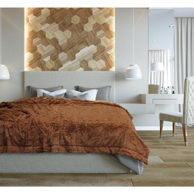 Плед, размер 220 × 240 см, цвет коричневый