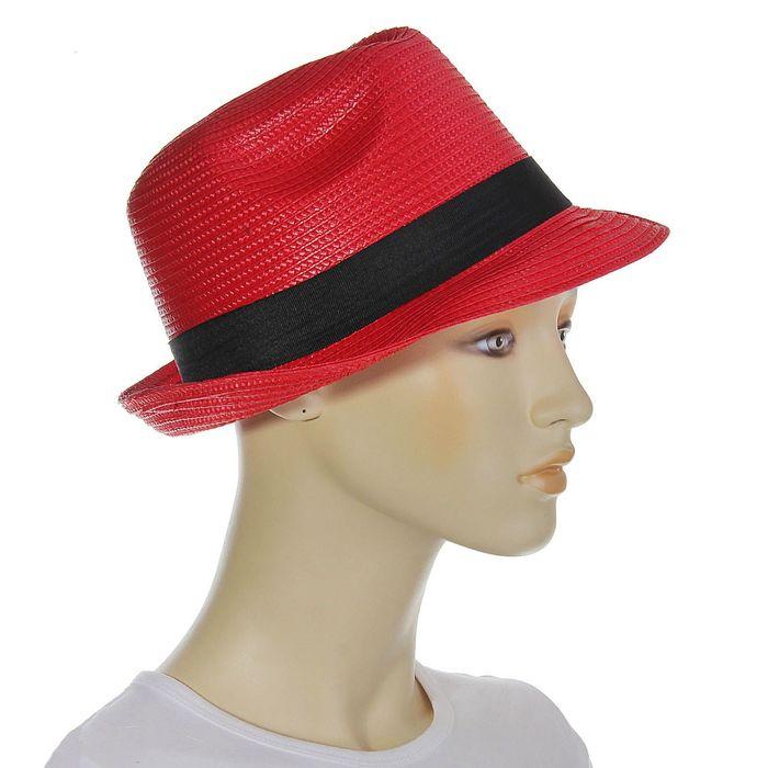 """Шляпа """"Классика"""", цвет красный, обхват головы 58 см, ширина полей 5 см"""