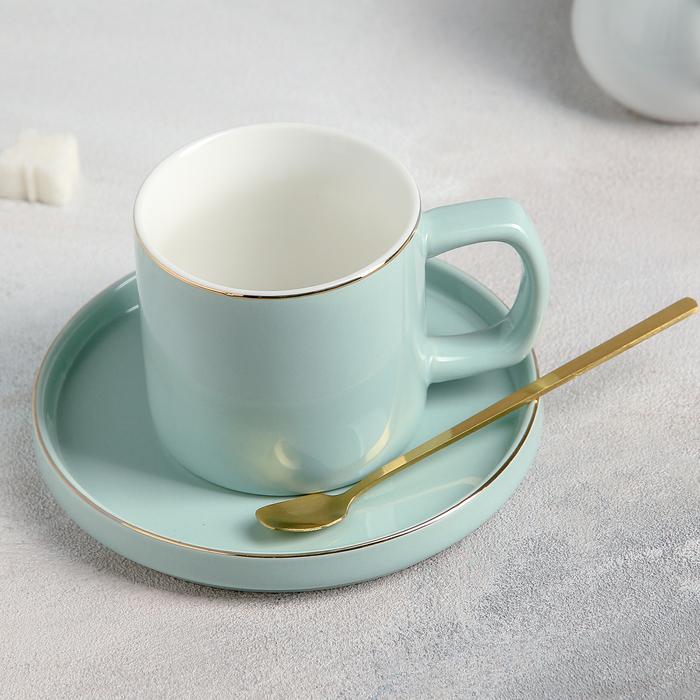 Чайная пара «Грация», чашка 220 мл, блюдце d=14,5 см, ложка, цвет серо-голубой - фото 997804