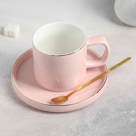 "A couple of tea ""grace"" Cup of 180 ml, 11x7,5x7 cm, saucer 14,5x1,5 cm, spoon, pink color"