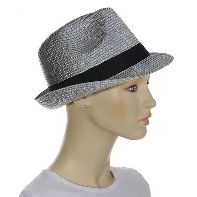 """Шляпа """"Классика"""", цвет серый, обхват головы 58 см, ширина полей 4 см"""