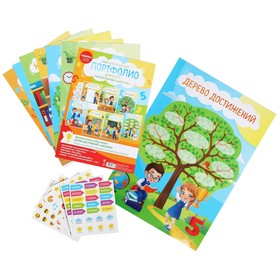 Set design portfolio with stickers for primary school (6 sheets stickers