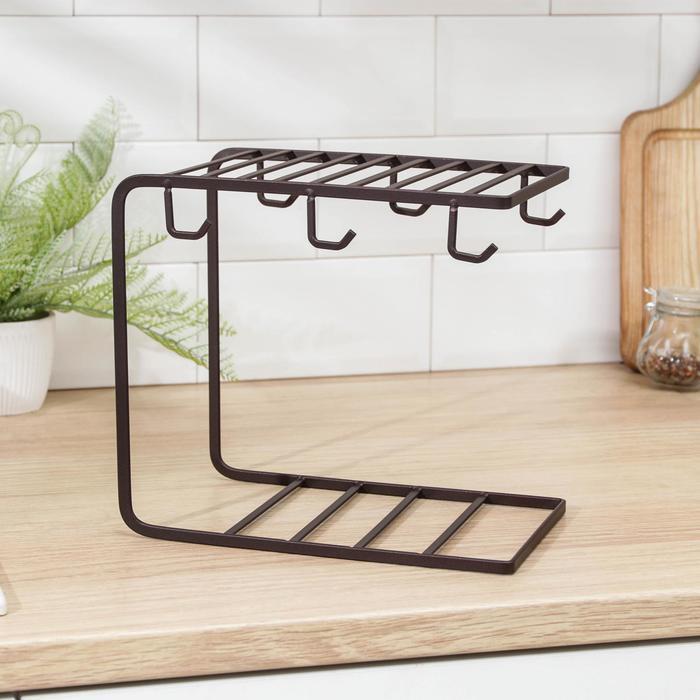 Stand for the tea set Loft 24х15,3х22,6 cm, color brown
