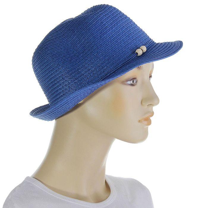 Шляпа со шнурком, цвет синий, обхват головы 58 см, ширина полей 4 см