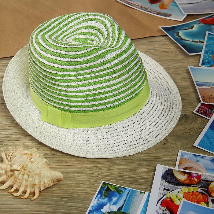 """Шляпа """"Полоска"""", цвет бело-зелёный, обхват головы 58 см, ширина полей 5 см"""