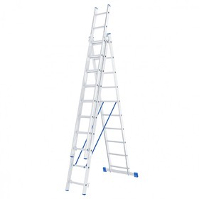 """Лестница шарнирная """"Сибртех"""" 97820, алюминиевая, трехсекционная, 3х10 ступеней"""