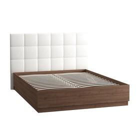 Кровать Камея 1600х2000, Орех каминный/Белый глянец/кожзам Белый