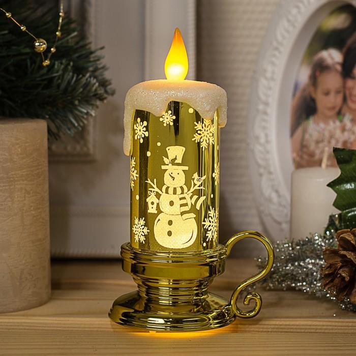 "Фигура световая ""Свеча снеговик"", 15х7х9 см, от батареек 3*AG01, пламя моргает, Т-БЕЛЫЙ 435"
