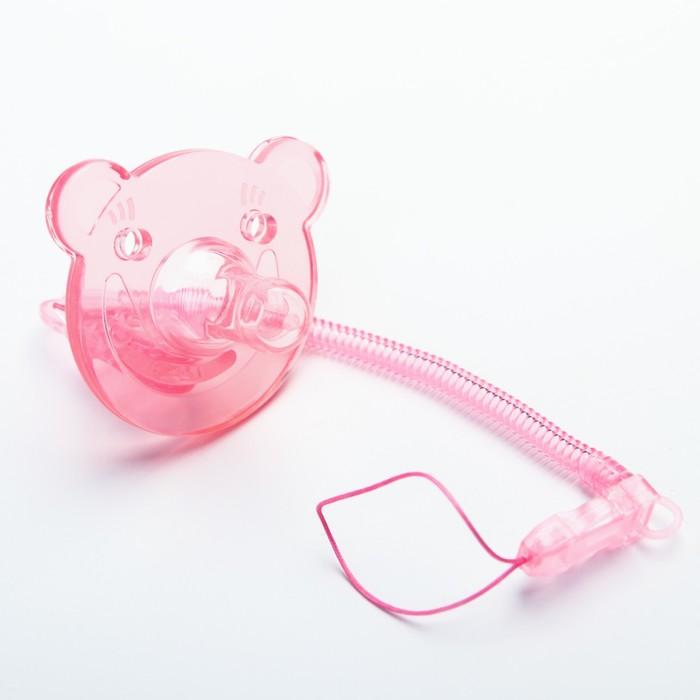 Пустышка цельносиликоновая, с держателем, в контейнере, от 0 мес., цвет розовый