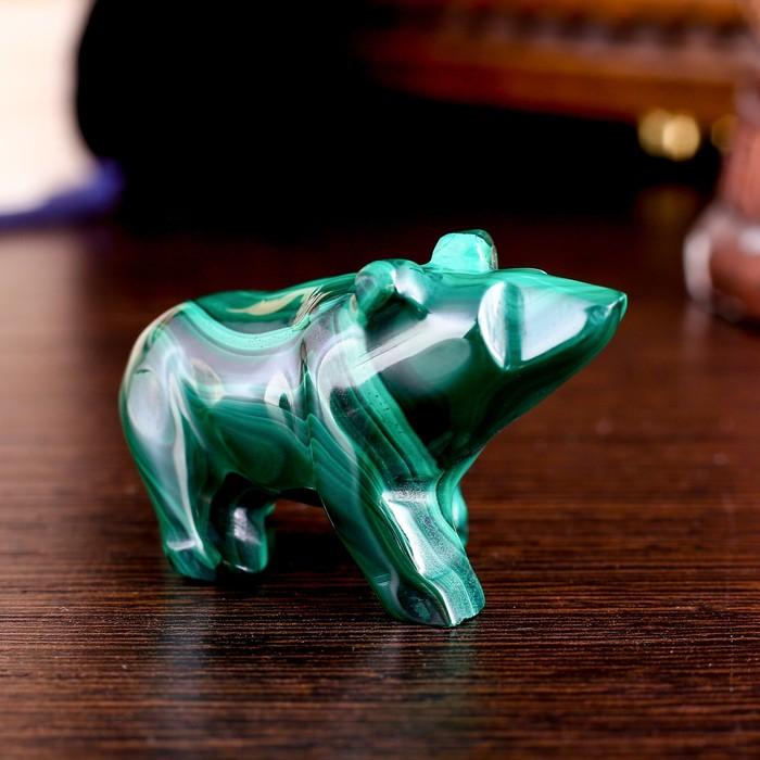 """Сувенир """"Медведь"""", натуральный малахит - фото 8881068"""