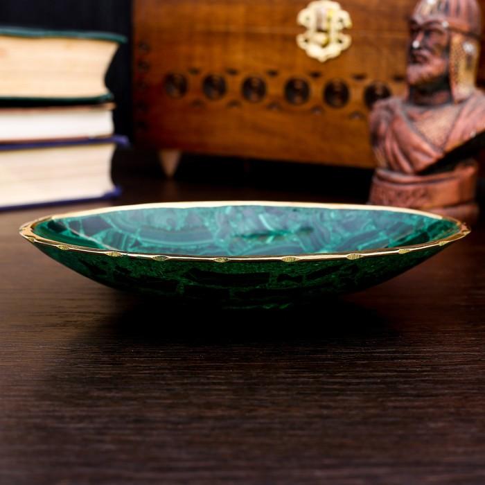 Блюдце малахитовое, овальное - фото 8881086