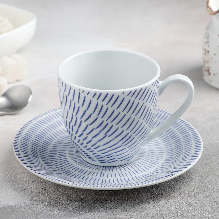 Чайная пара Доляна «Антик», чашка 200 мл, блюдце d=15 см - фото 660969