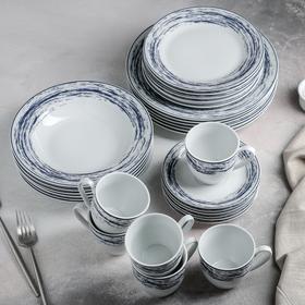 Сервиз столовый Доляна «Ласточкино гнездо»,24 предмета: тарелки 19/21×3,5/24 см, чайная пара 200 мл