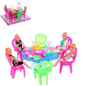 Furniture for dolls with dolls with accessories, color MIX