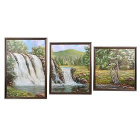 """Модульная картина """"Водопад в лесу"""" 33*50-1, 33*42-1, 33*35-1, 50х100 см"""