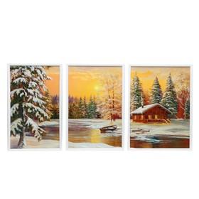 """Модульная картина """"Зимний вечер у реки"""" 31*50-1, 32*50-1, 37*50-1, 50х100 см"""
