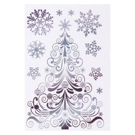 """Набор наклеек """"Новогодняя ёлочка"""" голографическая фольга, снежинки, 16,7 х 24,6 см"""