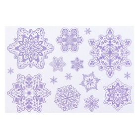 """Набор наклеек """"Снежинки"""" голографическая фольга, 16,7 х 24,6 см"""