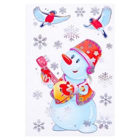 """Набор наклеек """"Музыкальный снеговик"""" голографическая фольга, снегири, 16,7 х 24,6 см"""
