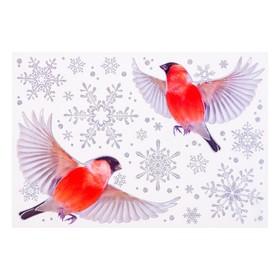 """Набор наклеек """"Снегири"""" голографическая фольга, снежинки, 16,7 х 24,6 см"""