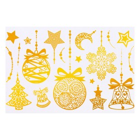 """Набор наклеек """"Новогодние украшения"""" золотая голографическая фольга, 16,7 х 24,6 см"""
