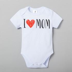 """Боди Крошка Я """"Love mom"""", белый, р.26, рост 74-80"""