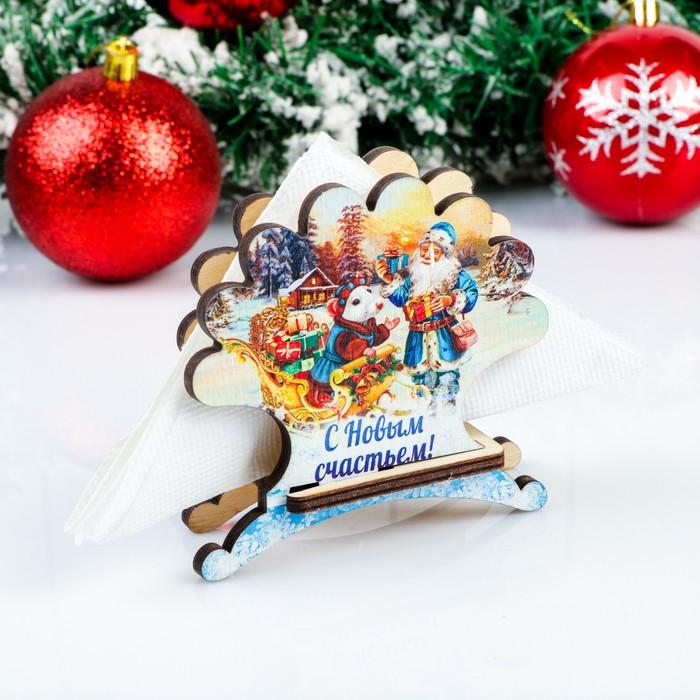 Салфетница «Дед Мороз с мышкой», с новым счастьем, 4×9,8×10,5 см