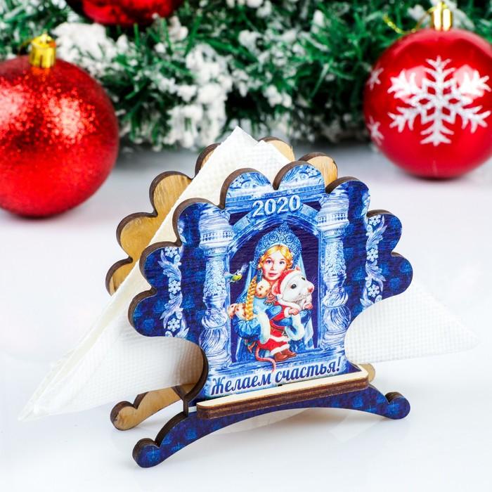 Салфетница «Снегурочка с мышкой», желаем счастья, 4×9,8×10,5 см
