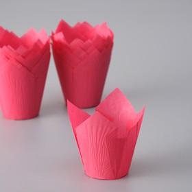 """Форма бумажная """"Тюльпан"""", темно-розовый, 5 х 8 см"""