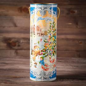 """Cardboard-wound tube d120/h345 """"Christmas Fair"""" in blue"""