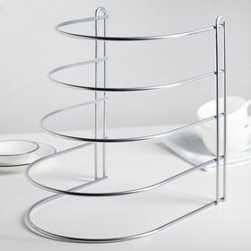 Подставка для хранения сковородок настольная, 4 отделения, 26х22х27 см, цвет хром