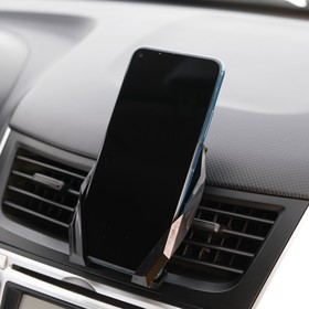 Phone holder in vent, self-locking grip 6.5-12 cm, with magnet, black