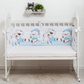 Бортик в кроватку «Умка», размер 40х360 см, цвет голубой, сатин
