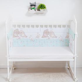 Бортик в кроватку «Птички», размер 40х360 см, цвет зелёный, бязь
