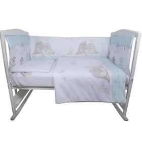Комплект в кроватку «Птички», 4 предмета, цвет зелёный, бязь