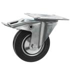 Колесо для тележек поворотное с тормозом, d=100, резина
