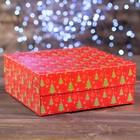 """Коробка картонная на 9 капкейков """"Ёлки красные"""", 25 х 25 х 10 см"""