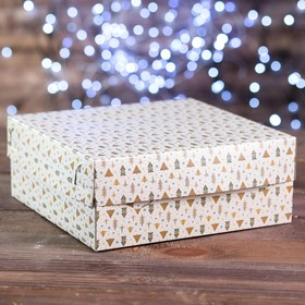 "A cardboard box of 9 cupcakes ""Christmas Tree beige"", 25 x 25 x 10 cm"