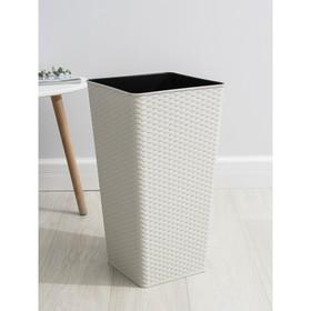 Кашпо со вставкой «Ротанг», 28 л (13 л), цвет белая роза
